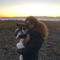 With my adoptive puppy, Buddy